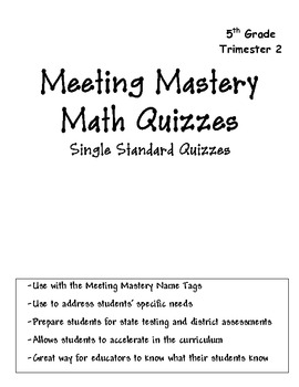 Meeting Mastery  Math Quiz Book for 5th Grade Trimester 2