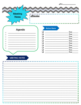 Meeting Note Page - Cool Colors