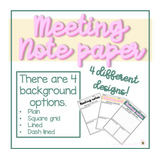 Meeting Notes Template | EDITABLE | Digital Note Paper