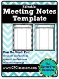 Meeting Notes Organizer for a Teacher Organization Binder {Editable, Printables}