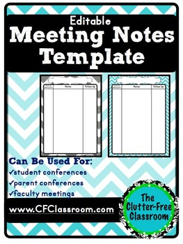 Meeting Notes Organizer for a Teacher Organization Binder {Editable, Printables}