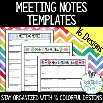 Meeting Notes Templates for Teachers - 16 Colorful Designs