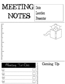 Meeting Notes & To Do for Teacher Binder