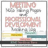 Meeting Notes and Professional Development Log - Boho Farmhouse Theme