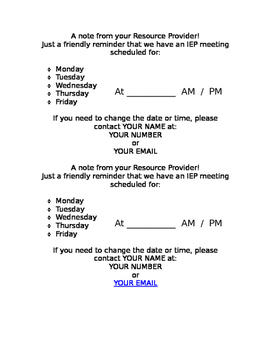 Meeting Reminder Hand Out for IEP Team Meeting in English and in Spanish