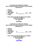 Meeting Reminder Hand Out for IEP Team Meeting in English