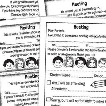 Meeting Scheduling Forms Pack: Notice Slip, Reminder, Thank you / Missed You!