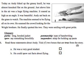Meeting the Wright Brothers -Historical Fiction - Reading comprehension