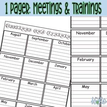 Meetings & Trainings Overview sheet -Editable, color or B&W