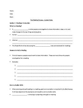Cloze Notes - Meeting Process - Part 1