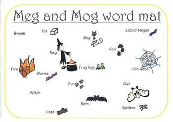 Meg and Mog word mat - HALLOWEEN TOPIC