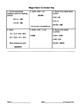 Mega 6 Math Quizzes 11-20