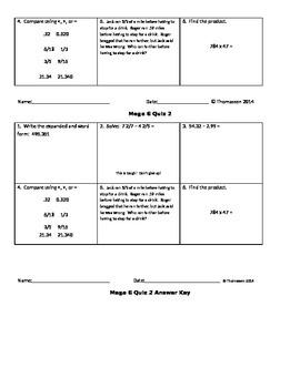 Mega 6 Math Quizzes 1-10