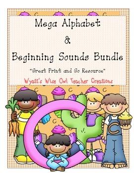 "Mega Alphabet &  Beginning Sounds Bundle  ""Great Print and Go Resource"""