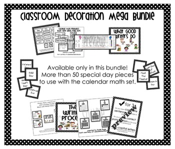 Mega Bundle Classroom Decorations – Black with White Polka Dots