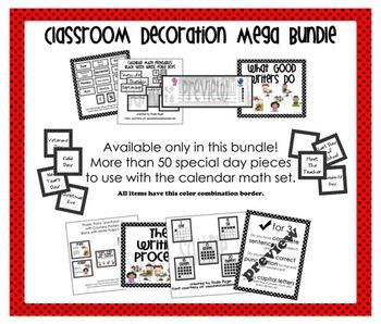 Mega Bundle Classroom Decorations – Red with Black Polka Dots
