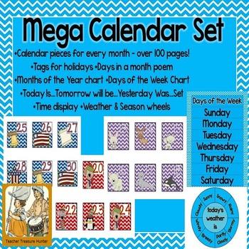 Chevron Mega Calendar Pack ~ All calendar pieces, charts,