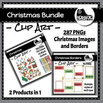 Mega Christmas Clip Art Pack - 2 products in 1 - 93 borders, 194 clip art