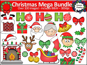 Mega Christmas Clipart Bundle - Over 100 images! For Personal and Commercial Use