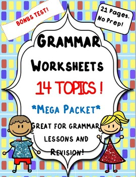 Mega Grammar Packet/Bundle: Worksheets + Bonus Test!
