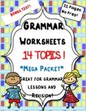 Mega Grammar Packet/Bundle: Worksheets + Bonus Test!