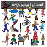 Mega Kids and Teens Clip Art Pack with Verb Theme- 82 Images!!