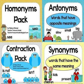 Mega Language Arts Pack!  homonyms, contractions, synonyms, antonyms