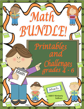Back to School review Math Bundle 20 Challenges 50 Printables