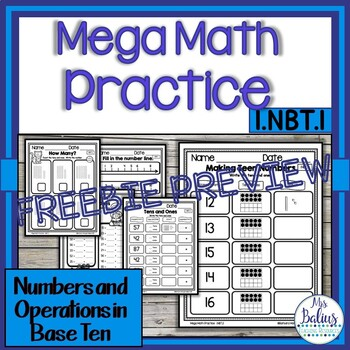 Mega Math Practice NBT Freebie Preview CCSS 1.NBT