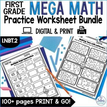First Grade Math Understanding Place Value Mega Practice 1.NBT.2
