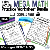 Countng On and Counting Back First Grade Mega Math Practic