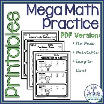 First Grade Math Addition & Subtraction Strategies Mega Practice 1.OA.6