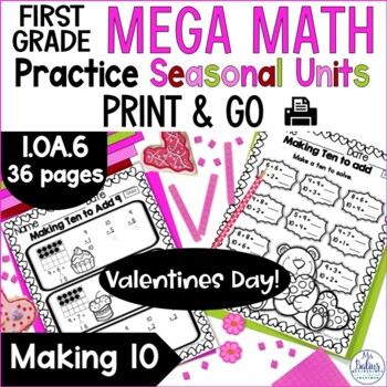 Addition and Subtraction Strategies Mega Math Practice Valentine 1.OA.6 First