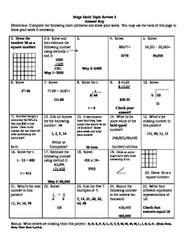 Mega Math Topic Review 2  Th Grade Math Worksheets Free With Answers Using Exponents Ans Axewqy on