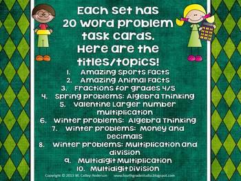 Mega Math Word Problem Task Card Bundle: Grades 3-5