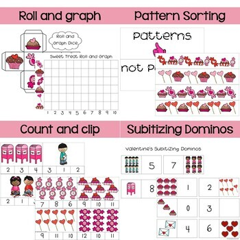 Math and Literacy Valentine's Day Activity Bundle for Pre-K and Kinder