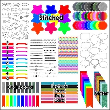 Mega Pack of Accessories and Extras!  Banners, Ribbons, Speech Bubbles Clip Art