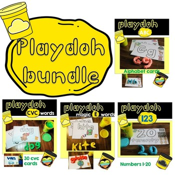 Mega Bundle Playdoh Numbers, Letters, CVC and CVCe Centers