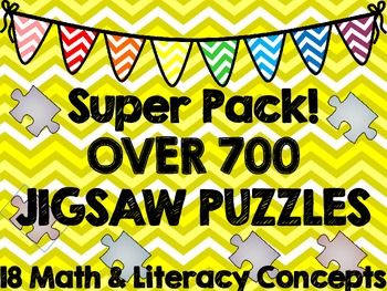 Puzzle Super Bundle--700 Math & Literacy Jigsaw Puzzles!