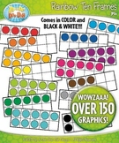 Mega Rainbow Ten Frames Math Clipart {Zip-A-Dee-Doo-Dah Designs}