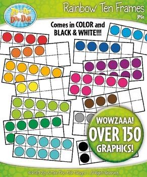 Mega Rainbow Ten Frames Math Clip Art Set — Over 150 Graphics!