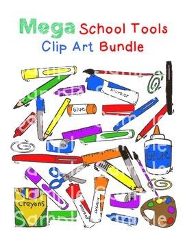 Mega School Tools Clip Art Bundle