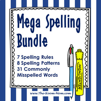 Mega Spelling Bundle with Digital Interactive Notebook Options