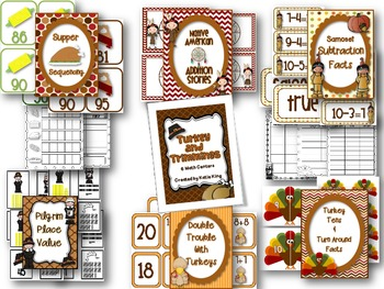 Mega Turkey and Trimmings: 6 Math and 6 Literacy Centers