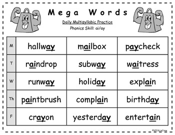 Multisyllabic AI/AY Phonics Activities {RTI and Common Core Aligned}