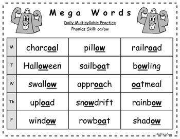 Multisyllabic OA/OW Phonics Activities {RTI and Common Core Aligned}