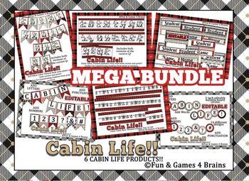 Mega bundle Rustic Cabin themed! alphabet strip, banner, name plates, more!