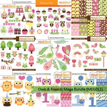 Mega bundle clip art (9 packs) owl and friends
