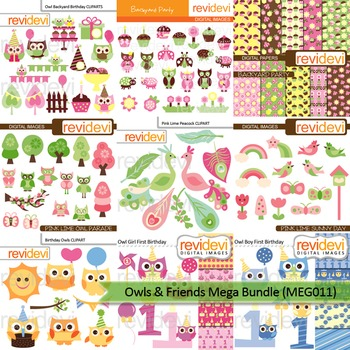 Mega bundle clip art (9 packs) owl and friends
