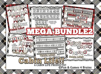 Mega bundle2 Rustic Cabin themed! alphabet strip, banner, name plates, more!
